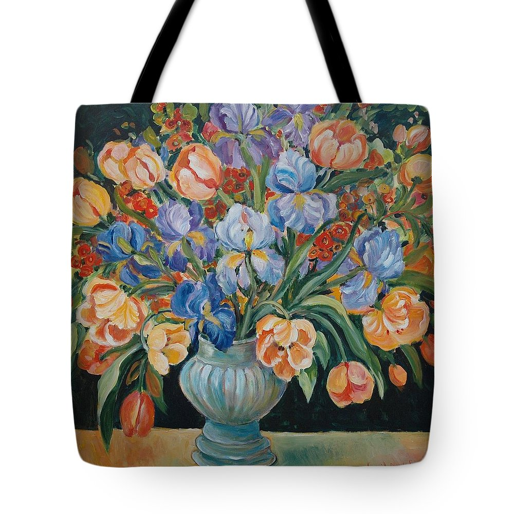 Still Life Tote Bag featuring the painting Tulips by Alexandra Maria Ethlyn Cheshire