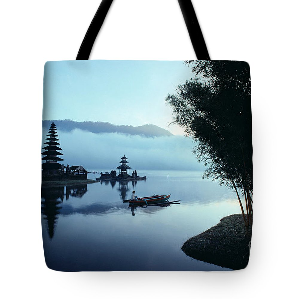 Bratan Tote Bag featuring the photograph Ulu Danu Temple by William Waterfall - Printscapes