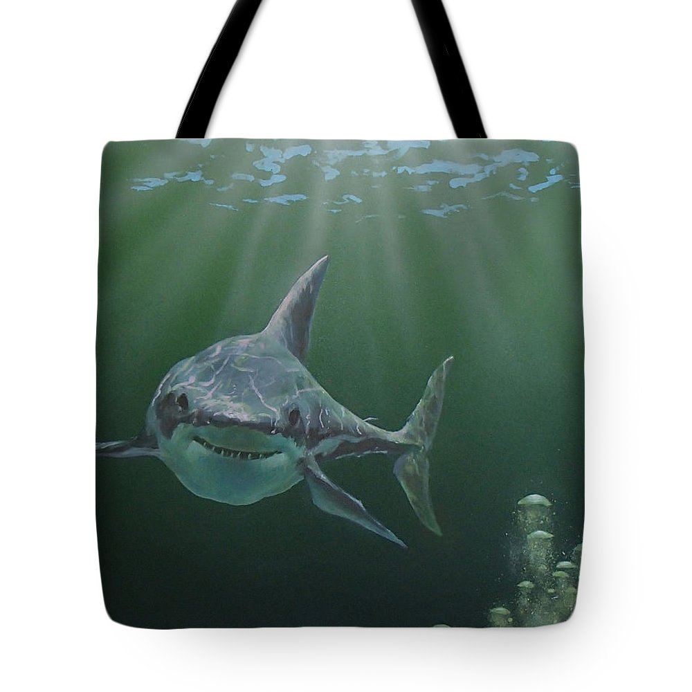 Shark Tote Bag featuring the painting Untitled 3 by Philip Fleischer