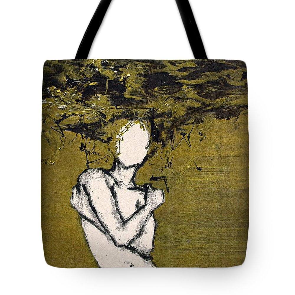 Gold Woman Hair Bath Nude Tote Bag featuring the mixed media Untitled by Veronica Jackson