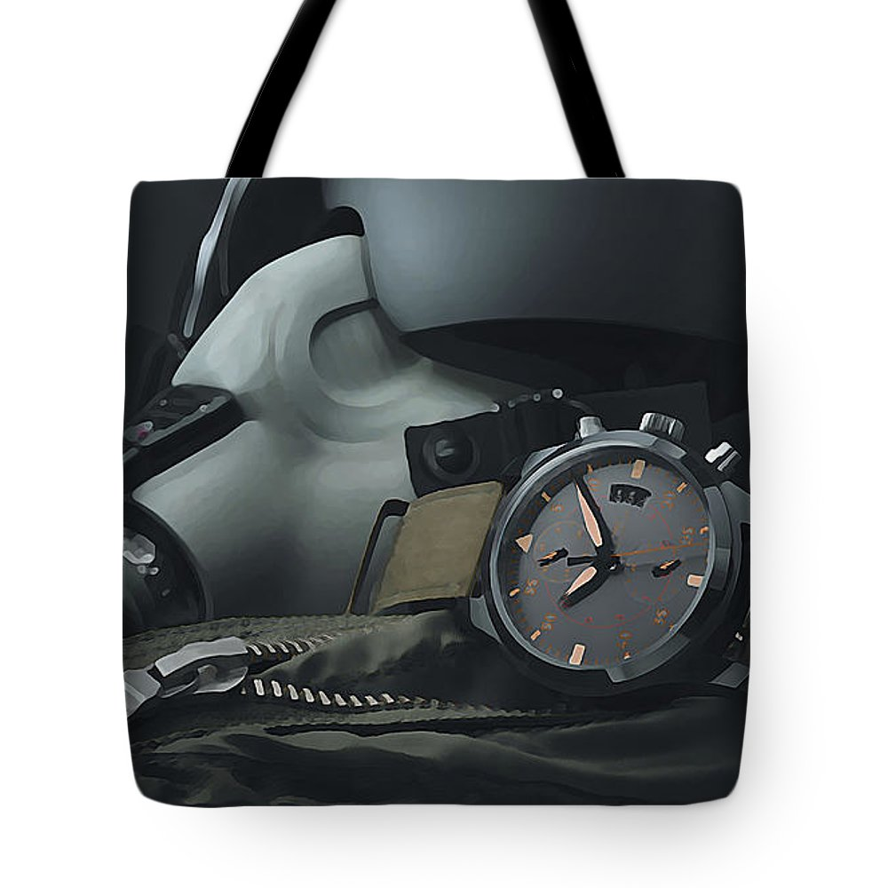 Watch Tote Bag featuring the digital art Watch by Lora Battle