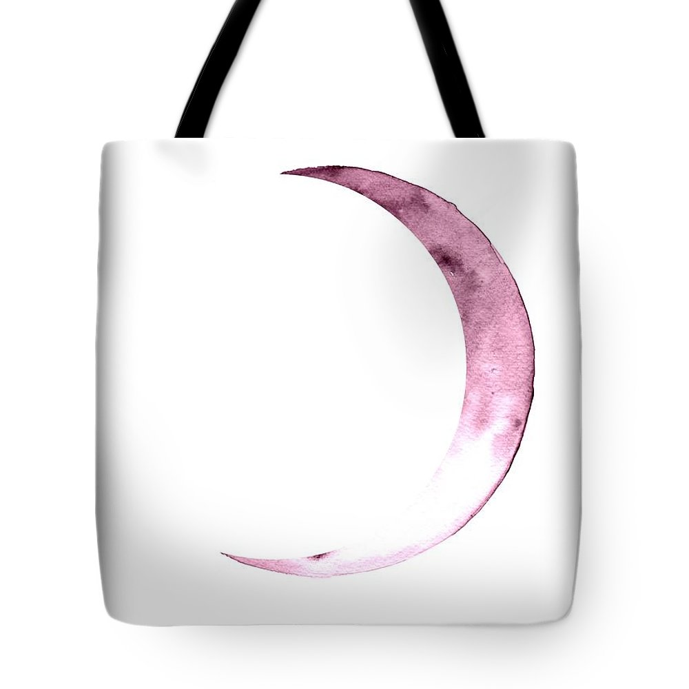 Moon Phase Wall Art Tote Bag featuring the painting Waxing Crescent by Sweeping Girl