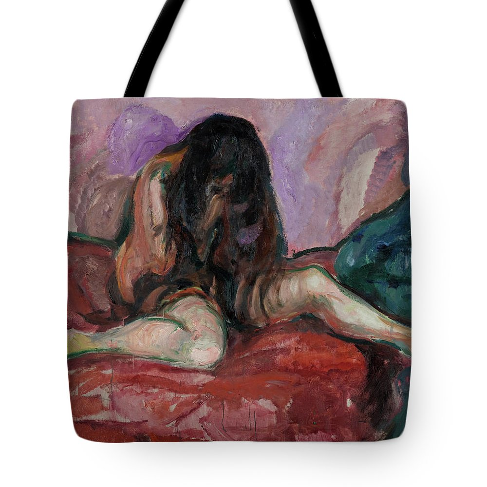 Edvard Munch Tote Bag featuring the painting Weeping Nude by Edvard Munch