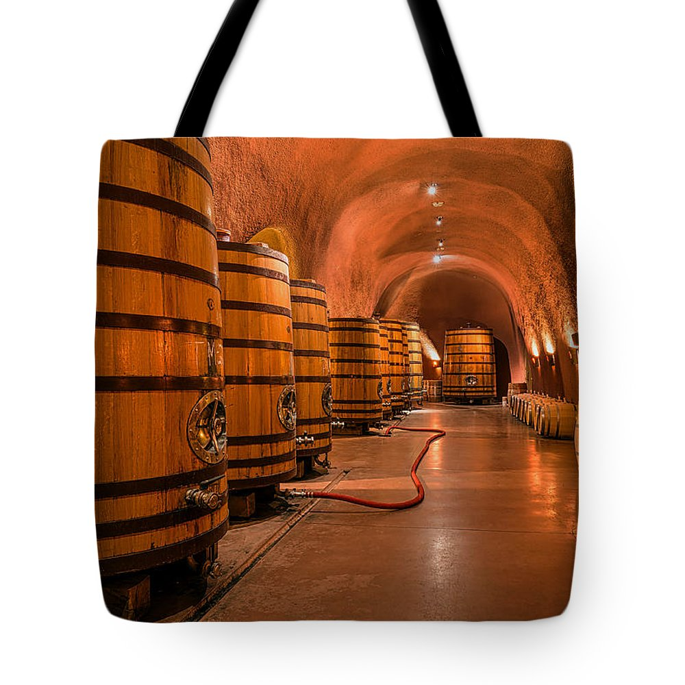 Jarvis Winery Tote Bag featuring the photograph Wine Cellar by Mountain Dreams