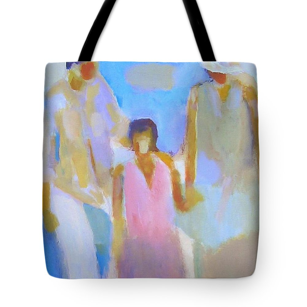 Abstract Tote Bag featuring the painting 3 With Love by Habib Ayat