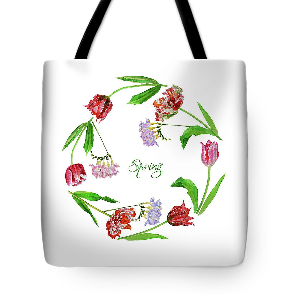 Bouquet Tote Bag featuring the digital art Wreath With Tulips by Natalia Piacheva