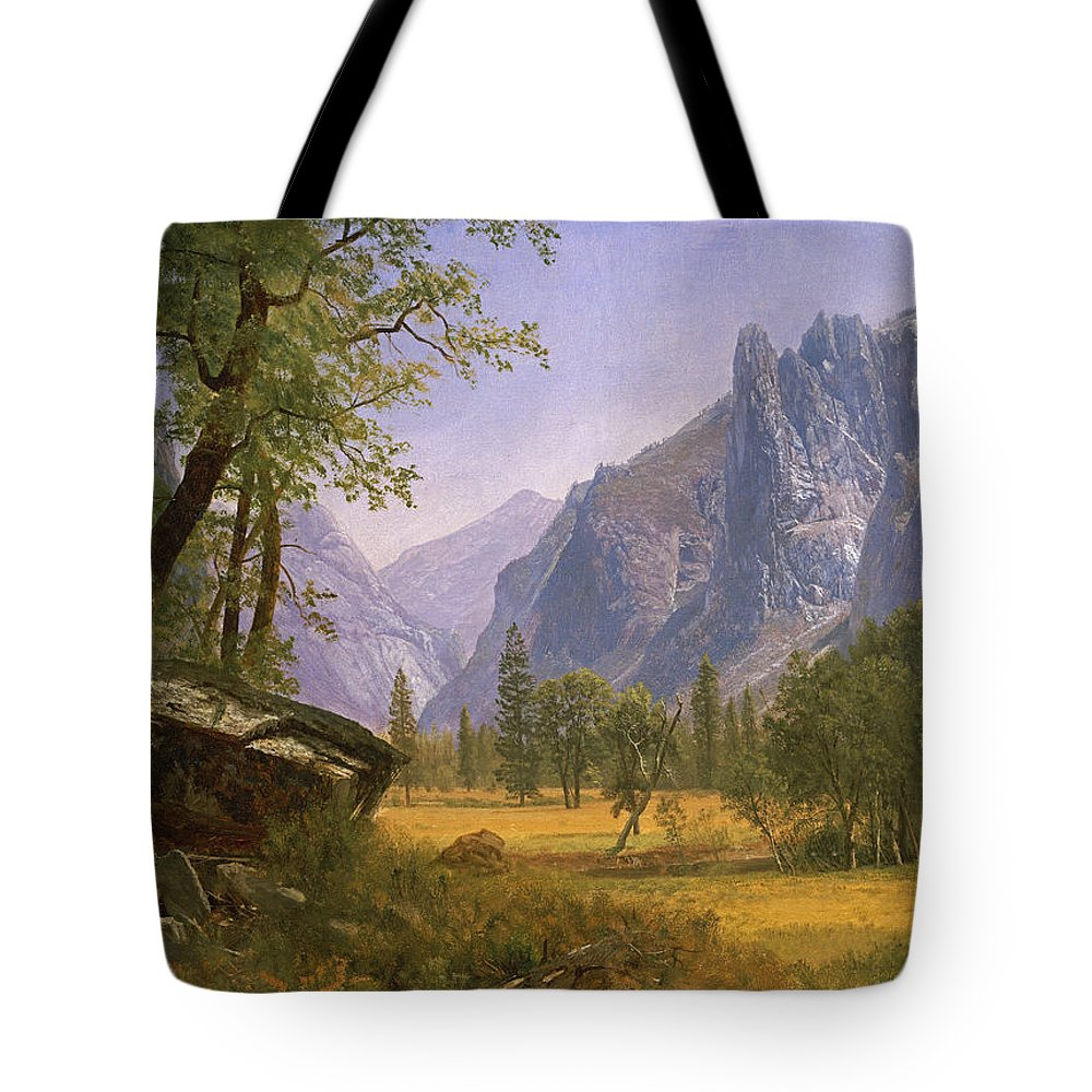 Albert Bierstadt Tote Bag featuring the painting Yosemite Valley by MotionAge Designs