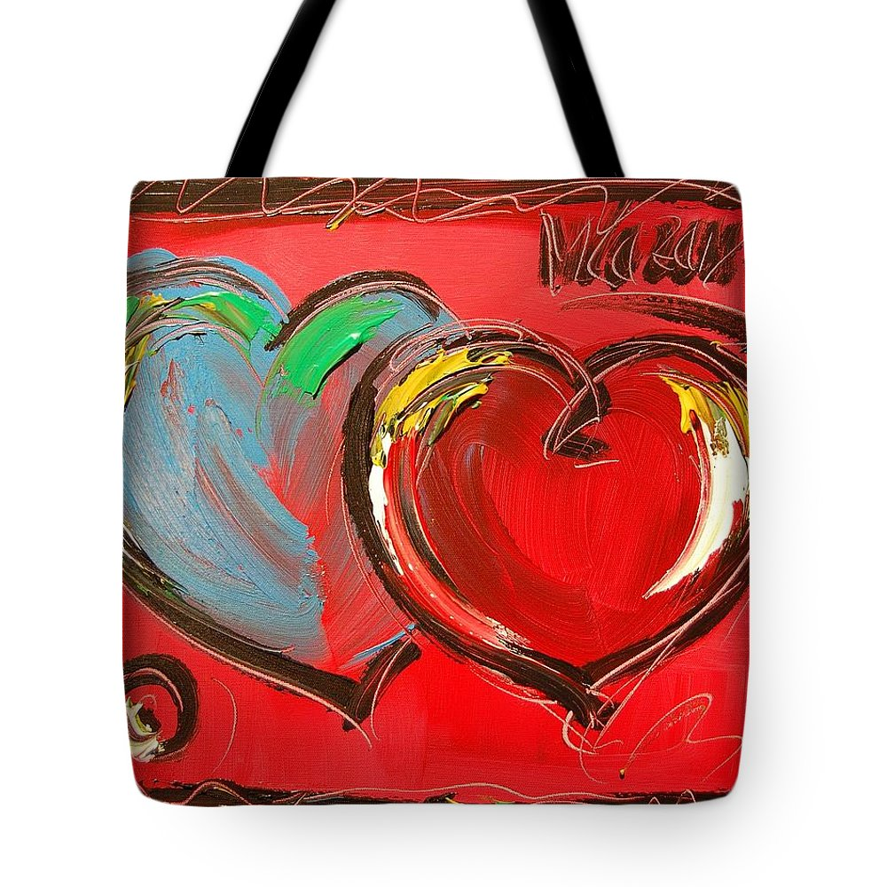 Impressionist Framed Prints Tote Bag featuring the mixed media Hearts by Mark Kazav