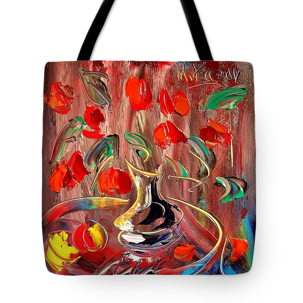 Impressionist Framed Prints Tote Bag featuring the mixed media Tulips by Mark Kazav
