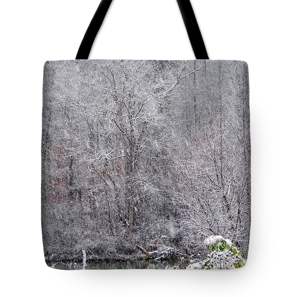 Snow Tote Bag featuring the photograph 3003-snowscape by Martha Abell
