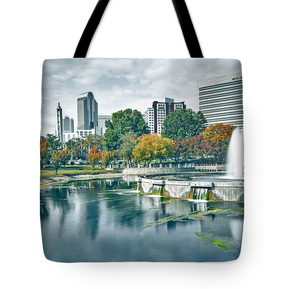 Park Tote Bag featuring the photograph Charlotte North Carolina Cityscape During Autumn Season by Alex Grichenko