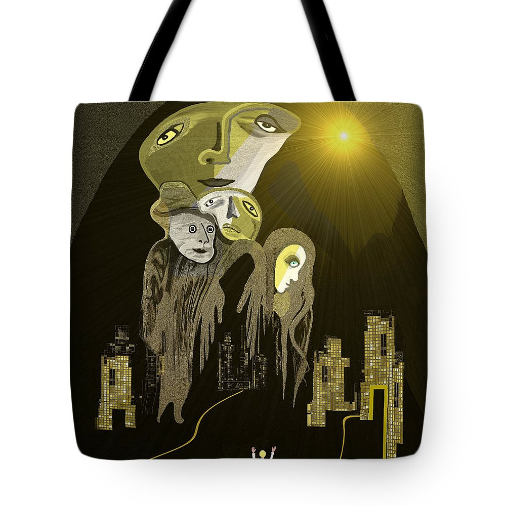 316 An Arrival Of The Gods A Tote Bag featuring the painting 316 An Arrival Of The Gods A by Irmgard Schoendorf Welch