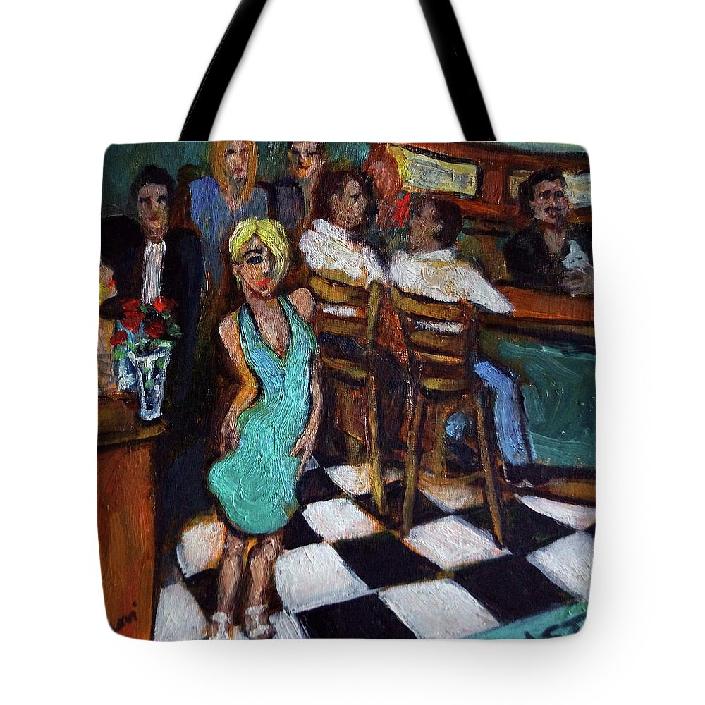 Restaurant Tote Bag featuring the painting 32 East by Valerie Vescovi