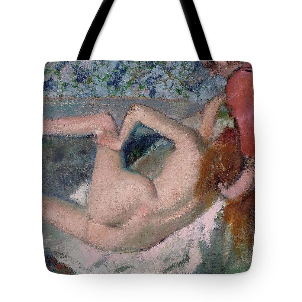 Edgar Degas Tote Bag featuring the painting After The Bath by Edgar Degas