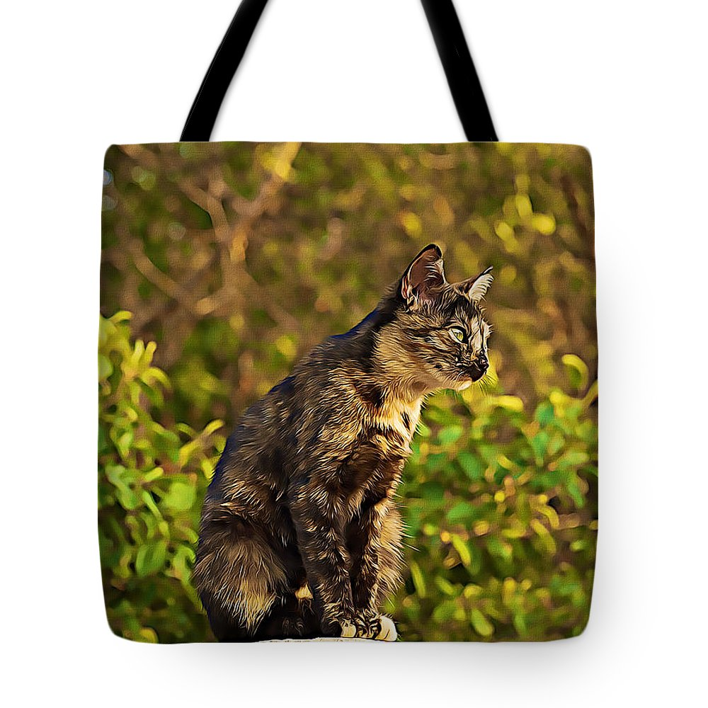 Cat Tote Bag featuring the digital art Cat by Lora Battle