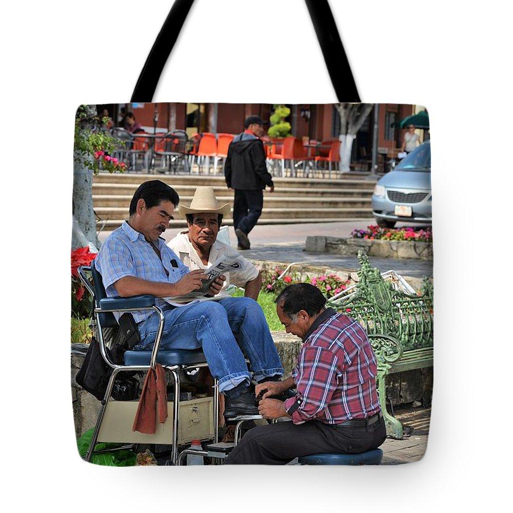 Portrait Tote Bag featuring the photograph Comitan De Las Flores by Gianni Bussu