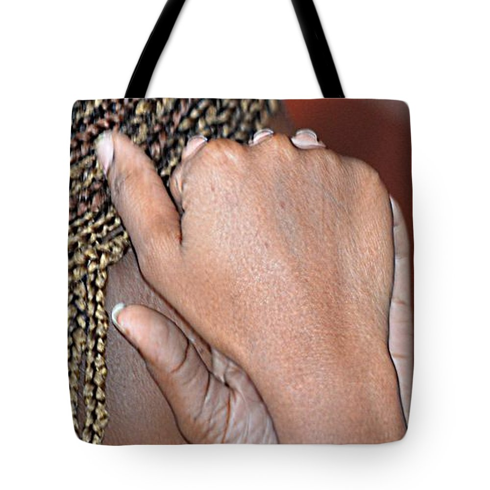 Portrait Tote Bag featuring the photograph Braids/roatan People by Gianni Bussu