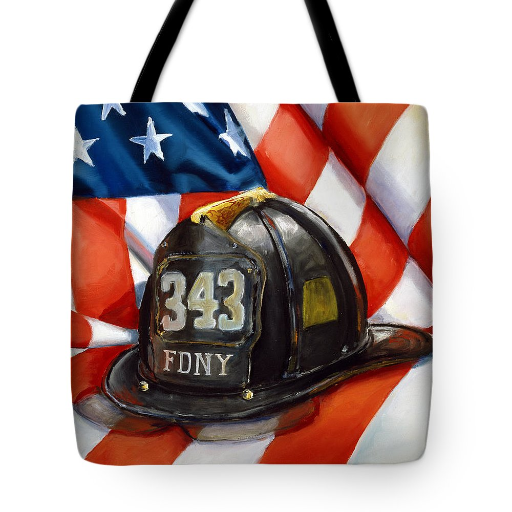 American Flag Tote Bag featuring the painting 343 by Paul Walsh