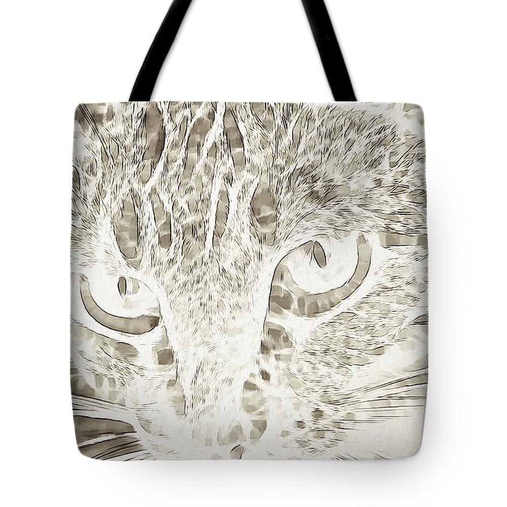 Cat Tote Bag featuring the digital art Cat by Lora Battle