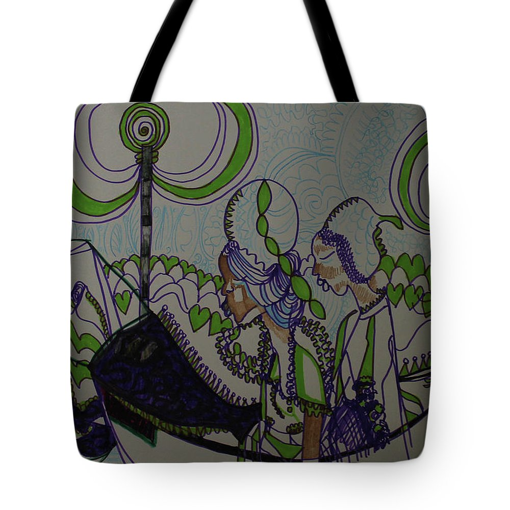 Jesus Tote Bag featuring the painting Kintu And Nambi Folktale by Gloria Ssali