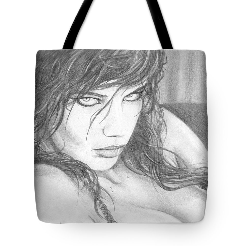 #adrianalima Tote Bag featuring the drawing Pout by Kristopher VonKaufman