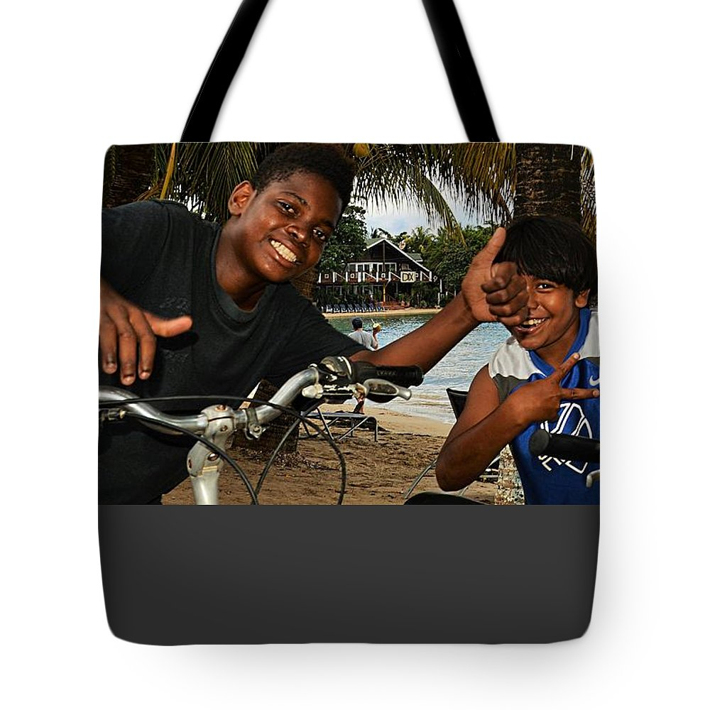 Portrait Tote Bag featuring the photograph Roatan People by Gianni Bussu