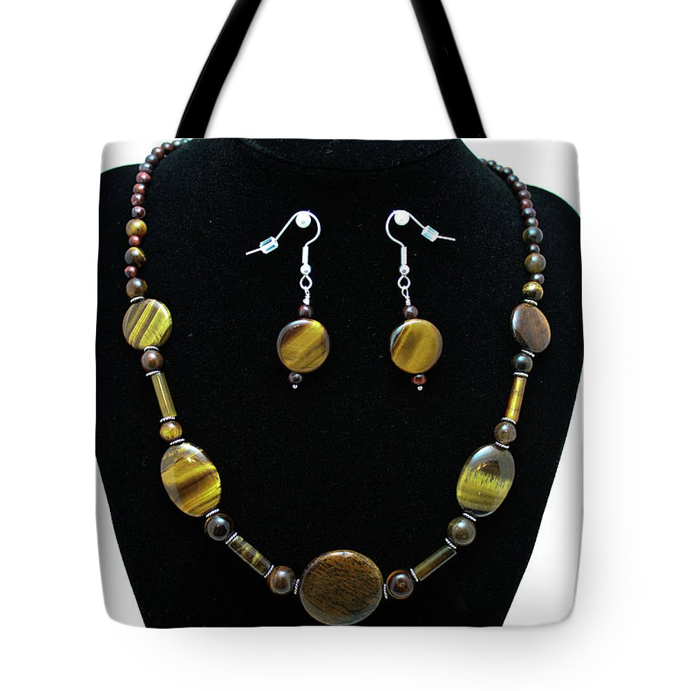 Jewelry Tote Bag featuring the jewelry 3510 Tiger Eye Set by Teresa Mucha