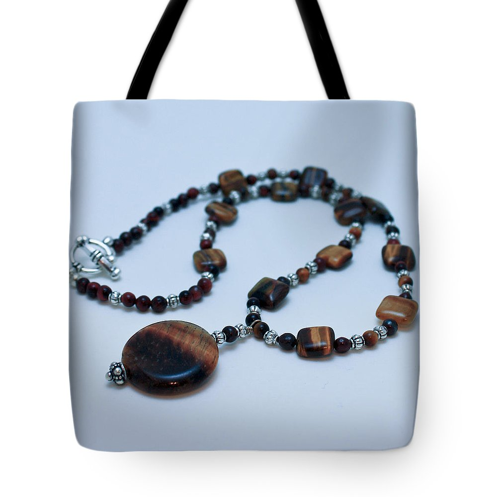 Homemade Tote Bag featuring the jewelry 3516 Tiger Eye Necklace by Teresa Mucha