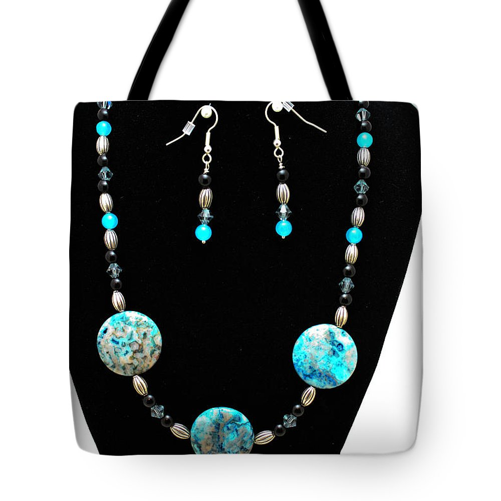 Jewelry Tote Bag featuring the jewelry 3517 Crazy Lace Agate Set by Teresa Mucha