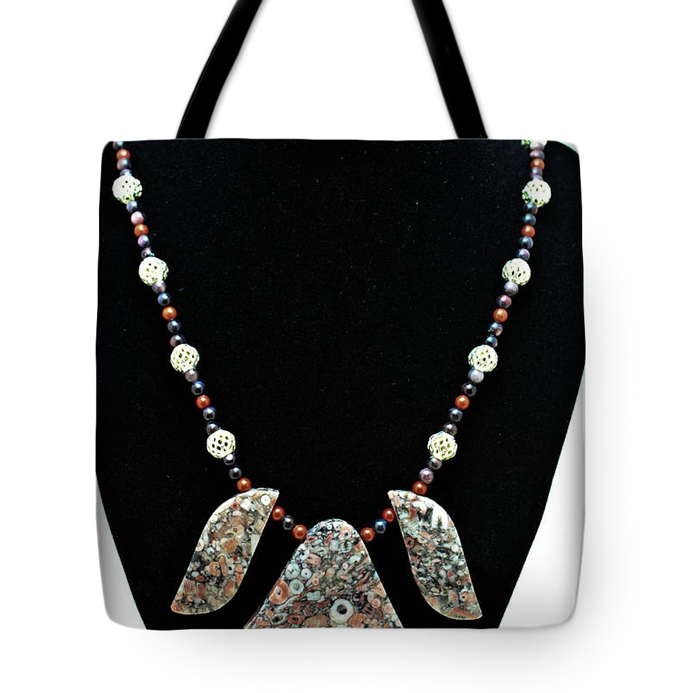 Jewelry Tote Bag featuring the jewelry 3521 Crinoid Fossil Jasper Necklace by Teresa Mucha