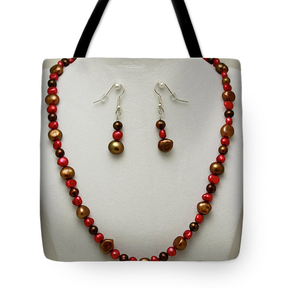 Handmade Tote Bag featuring the jewelry 3536 Freshwater Pearl Necklace And Earring Set by Teresa Mucha