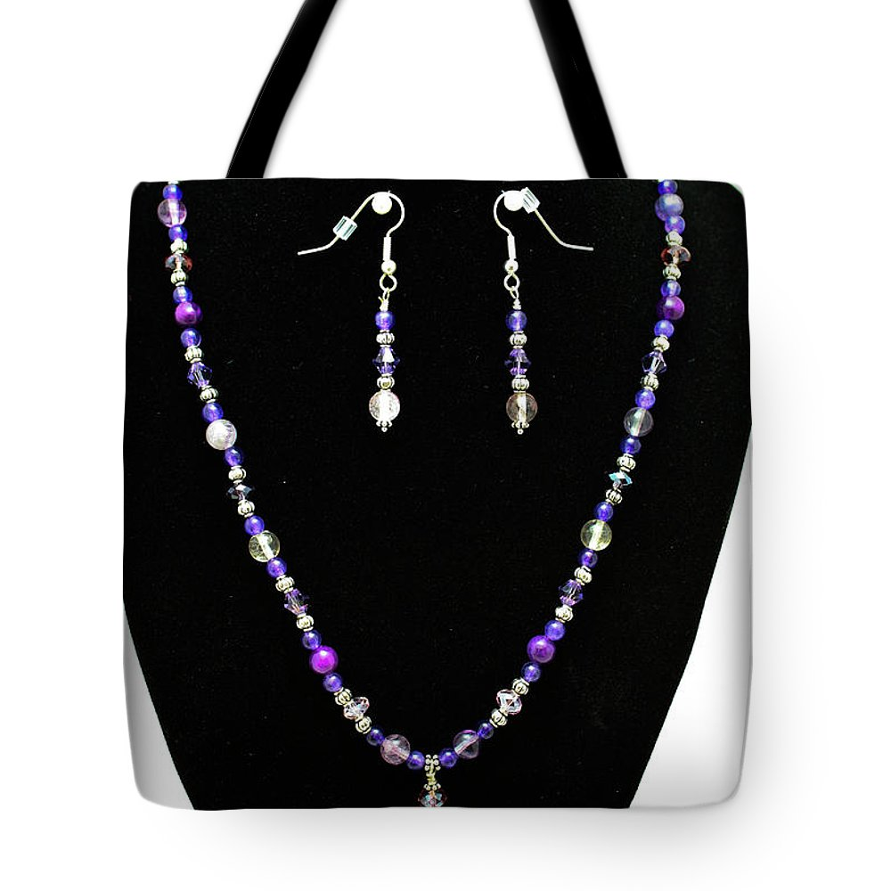 Jewelry Tote Bag featuring the jewelry 3546 Purple Veined Agate Set by Teresa Mucha