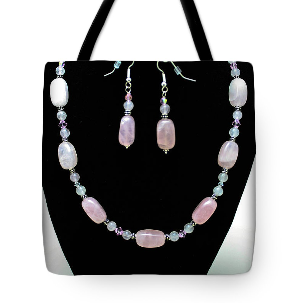 Jewelry Tote Bag featuring the jewelry 3558 Rose Quartz Set by Teresa Mucha