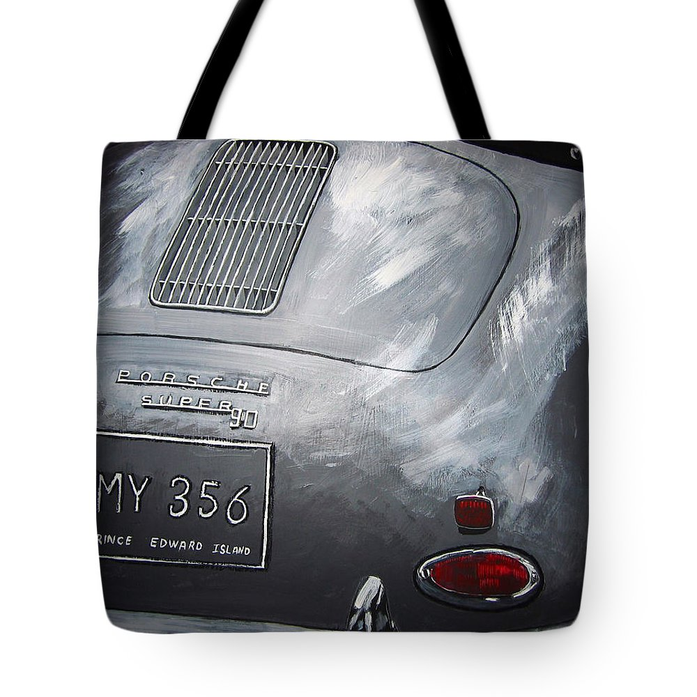 Car Tote Bag featuring the painting 356 Porsche Rear by Richard Le Page