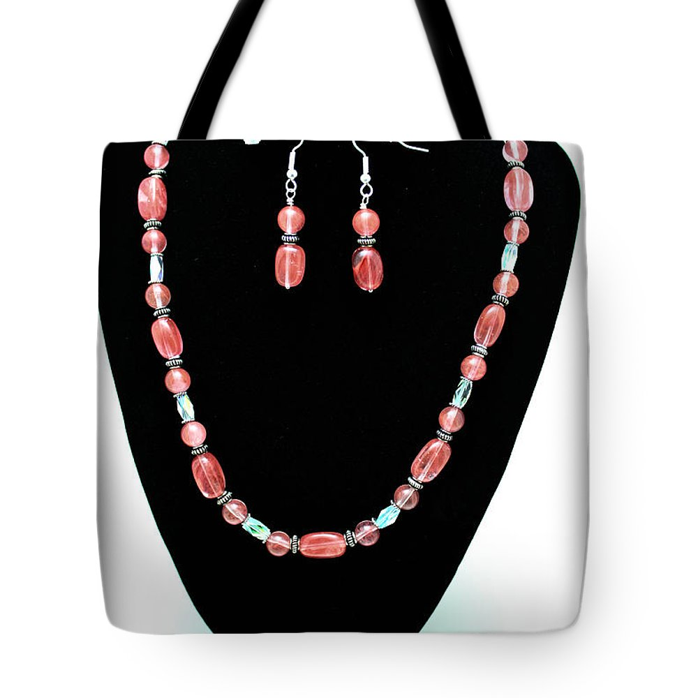 Jewelry Tote Bag featuring the jewelry 3570 Cherry Quartz Czech Glass Set by Teresa Mucha