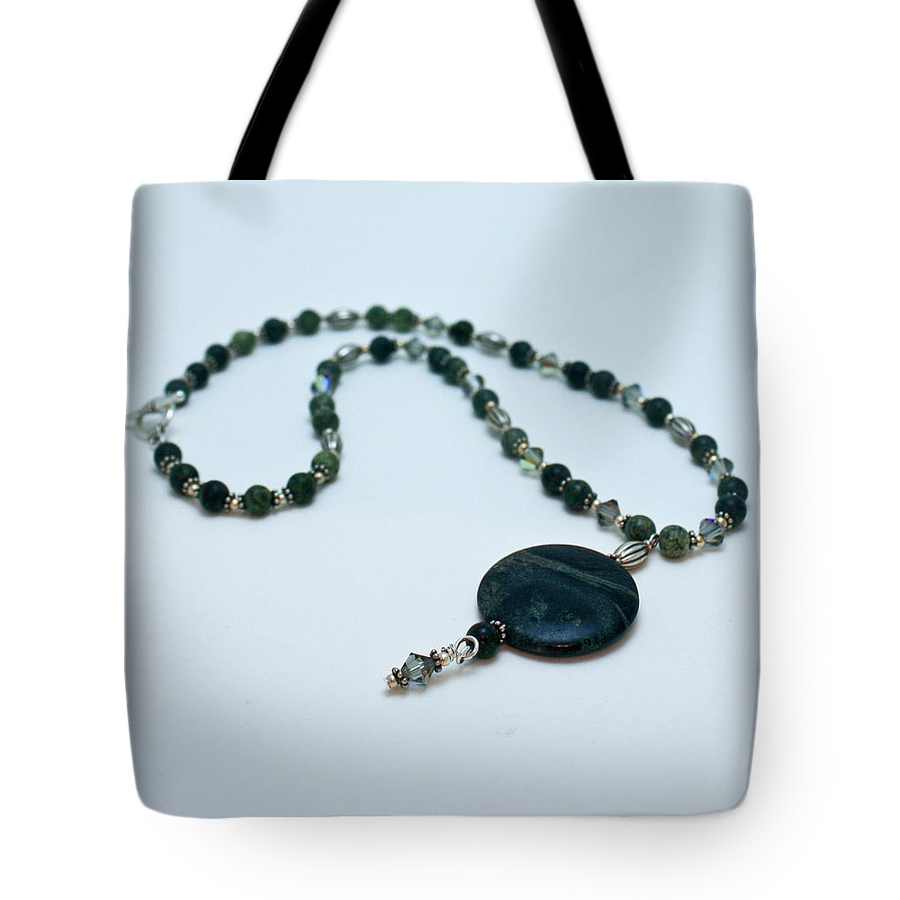 Handmade Tote Bag featuring the jewelry 3577 Kambaba And Green Lace Jasper Necklace by Teresa Mucha