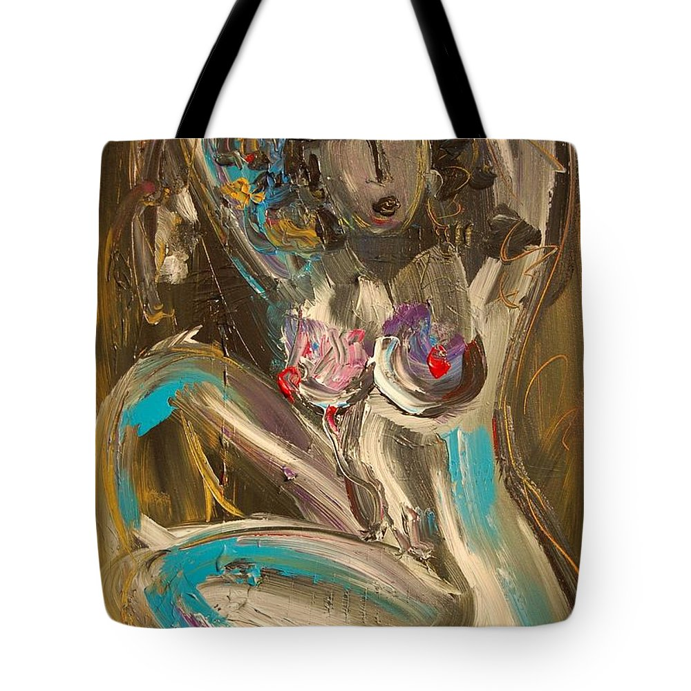 Impressionist Framed Prints Tote Bag featuring the mixed media Nude by Mark Kazav
