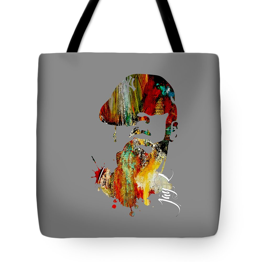 Jay Z Art Tote Bag featuring the mixed media Jay Z Collection by Marvin Blaine