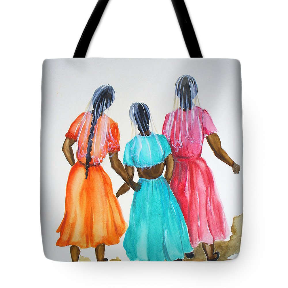 Three Ladies East Indian Tote Bag featuring the painting 3bff by Karin Dawn Kelshall- Best