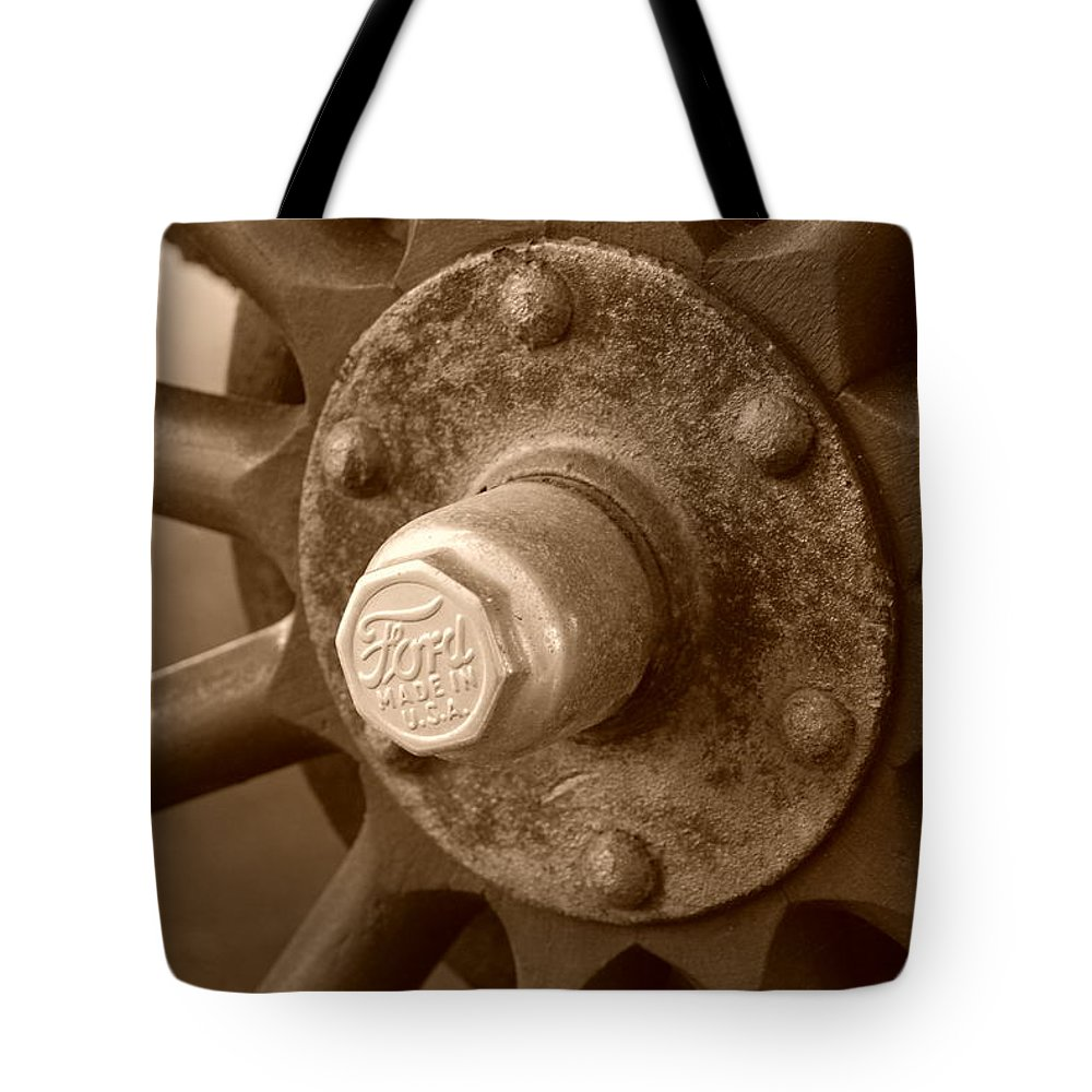 Sepia Tote Bag featuring the photograph 1926 Model T Ford by Rob Hans