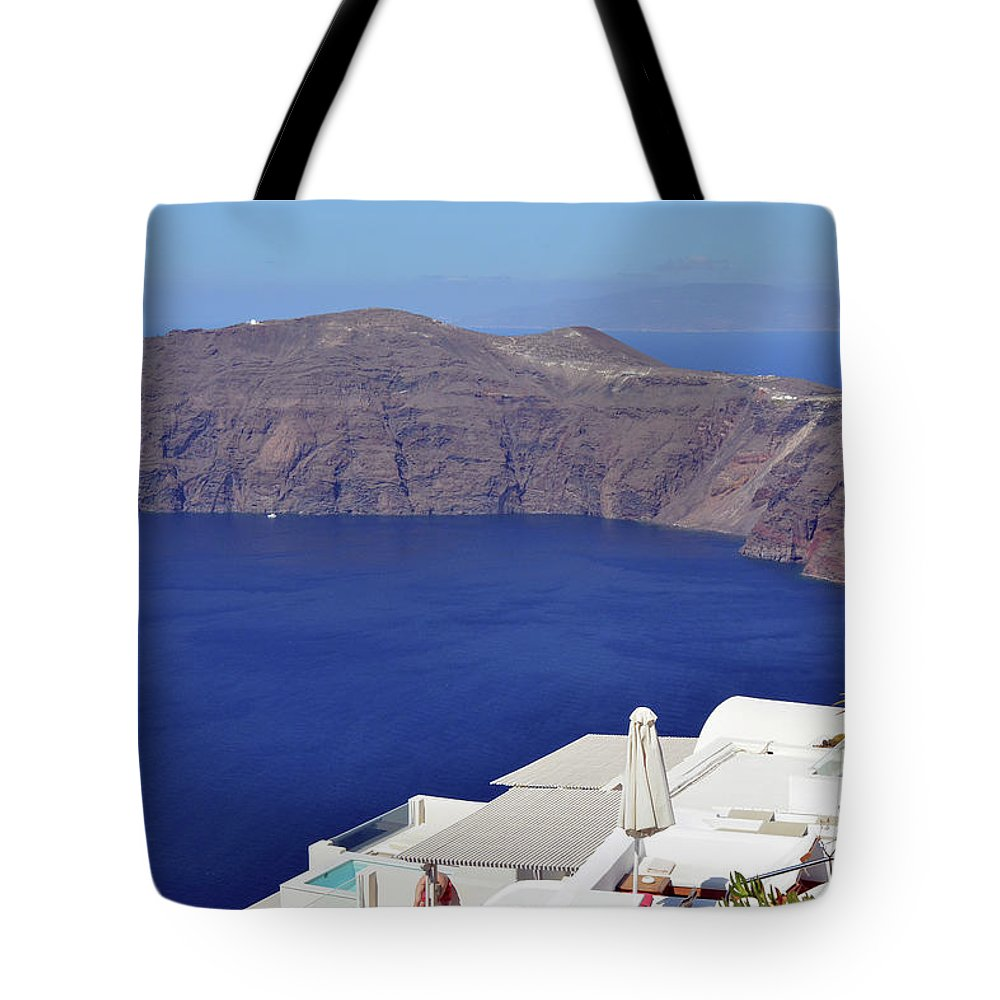 Santorini Tote Bag featuring the photograph 28.09.2016 Photography Of Traditional And Famous Houses And Churches With Blue Domes Over The Calder by Oana Unciuleanu