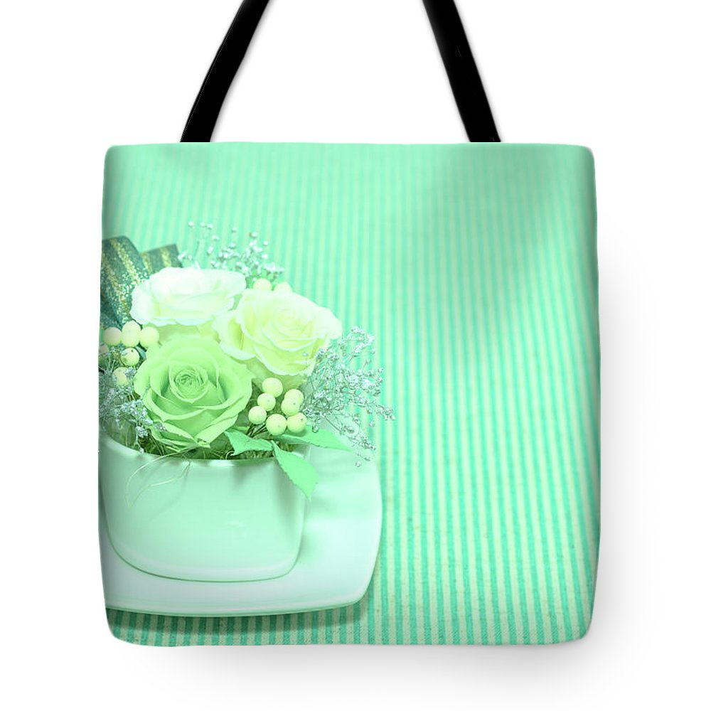 Valentine Tote Bag featuring the photograph A Gift Of Preservrd Flower And Clay Flower Arrangement, White An by Eiko Tsuchiya