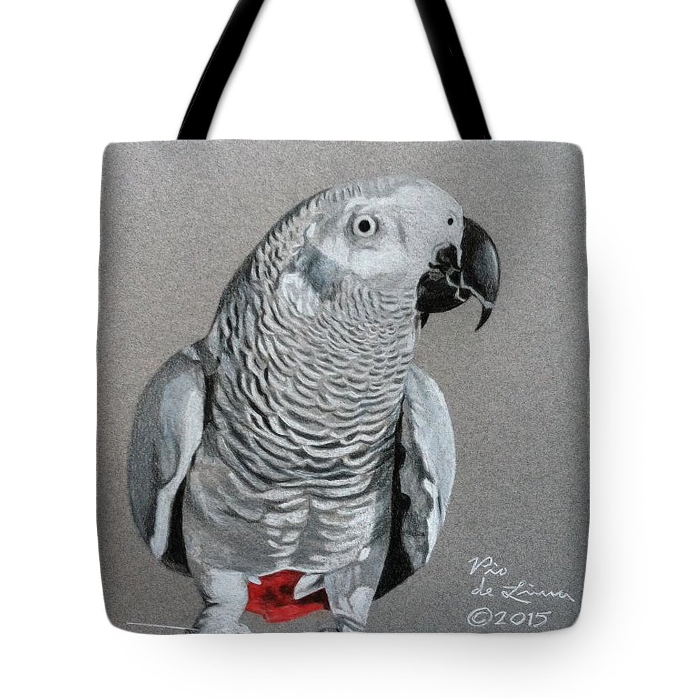 Tote Bag featuring the drawing African Grey Parrot by Pio De Lima