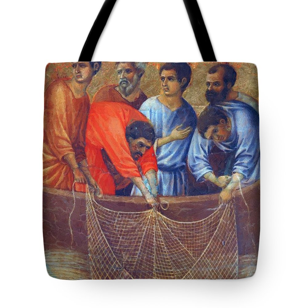 Appearance Tote Bag featuring the painting Appearance Of Christ To The Apostles Fragment 1311 by Duccio