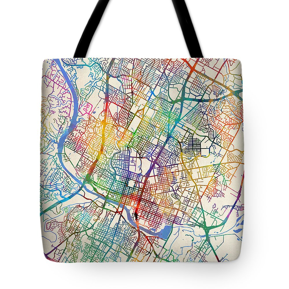Austin Tote Bag featuring the digital art Austin Texas City Map by Michael Tompsett