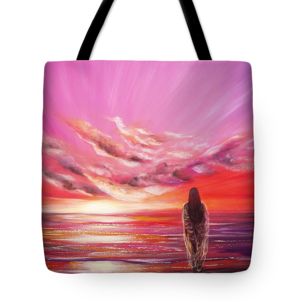 Sunset Tote Bag featuring the painting Beyond The Sunset by Gina De Gorna