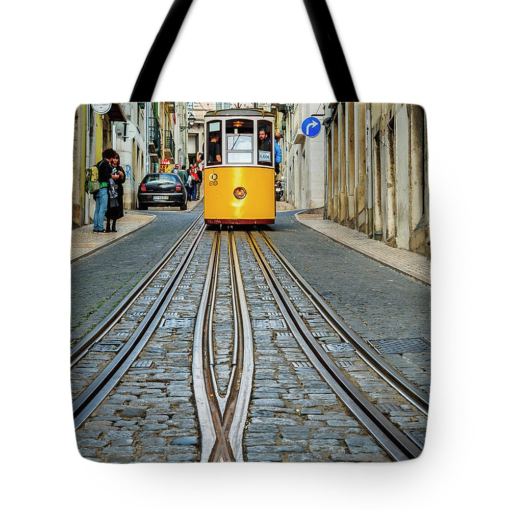 Bica Tote Bag featuring the photograph Bica Funicular, Lisbon, Portugal by Karol Kozlowski