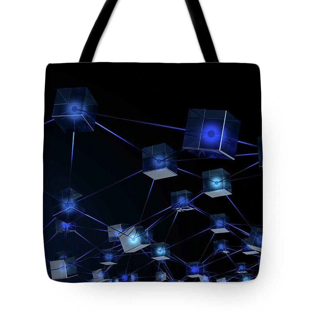 Blockchain Tote Bag featuring the digital art Blockchain Data Network by Allan Swart