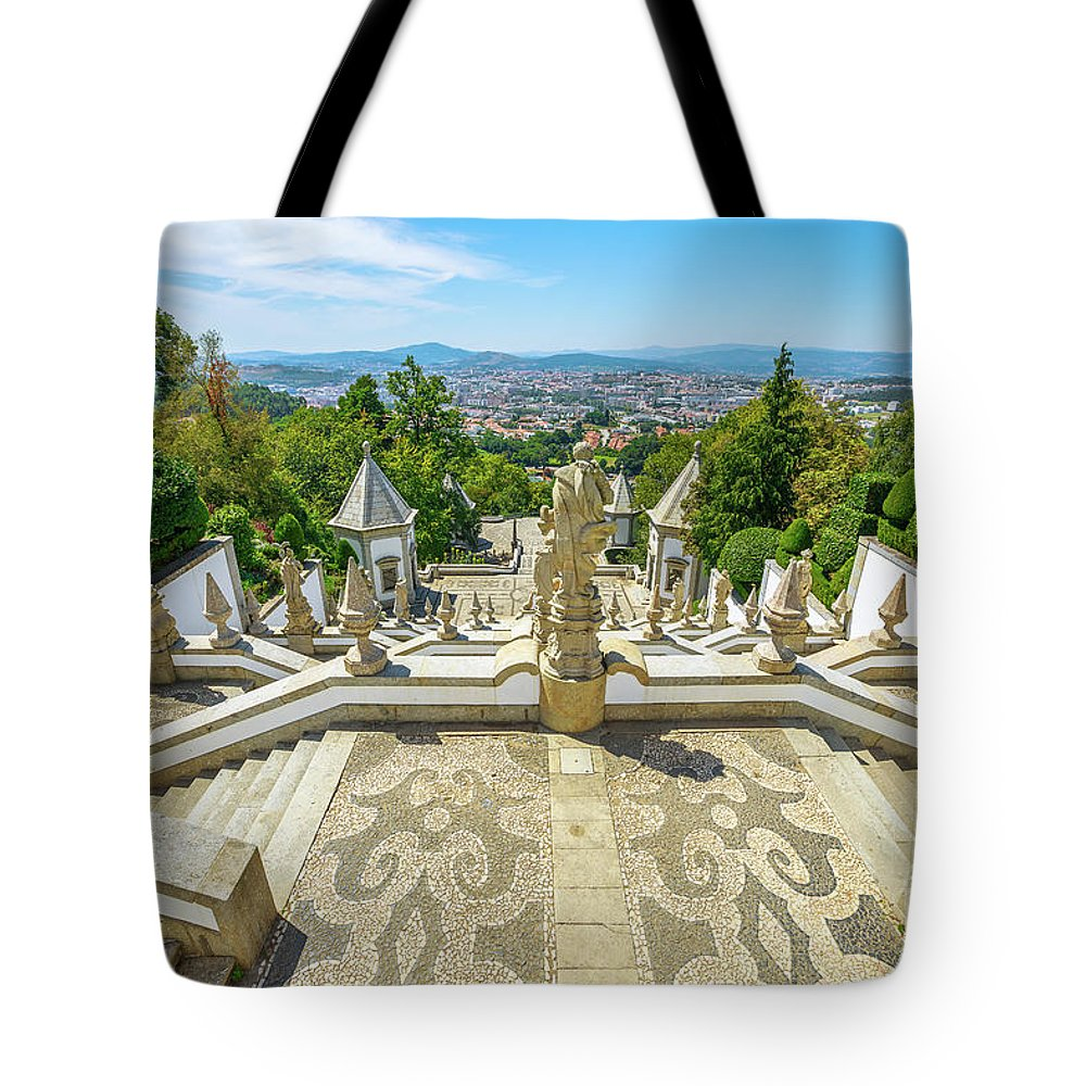Braga Tote Bag featuring the photograph Bom Jesus Staircase Braga by Benny Marty