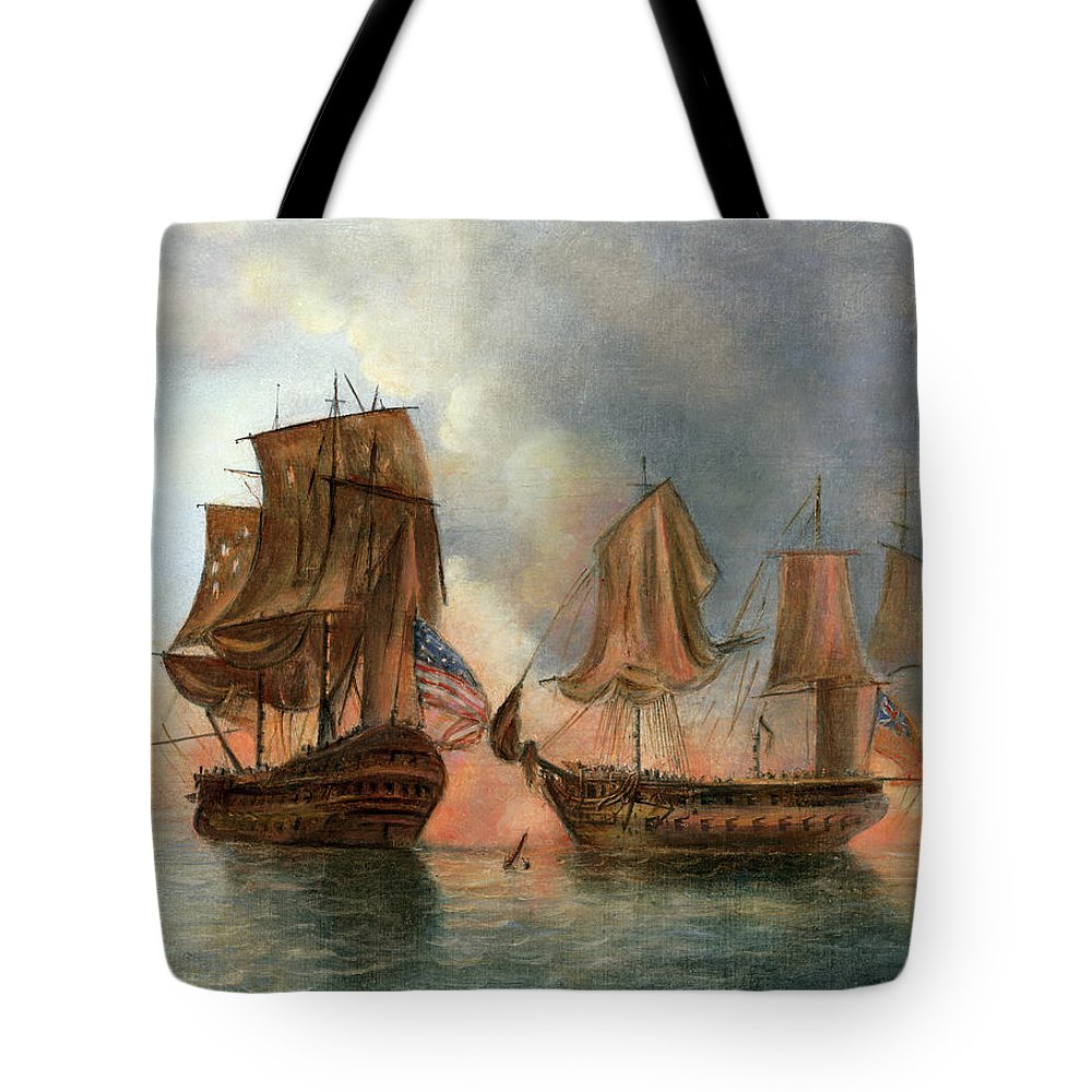 1779 Tote Bag featuring the drawing Bonhomme Richard, 1779 by Granger